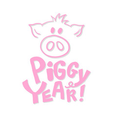 Cute pig snout in pink color with new year 2019 vector