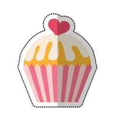 delicious sweet cupcake icon vector image