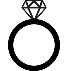 diamond engagement ring gem icon vector image