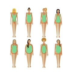 Different female body types woman figure shapes vector