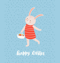 Easter greeting card template with cute bunny or vector
