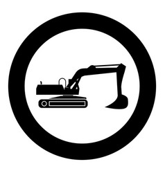 excavator black icon in circle isolated vector image