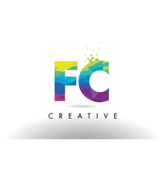 Fc f c colorful letter origami triangles design vector