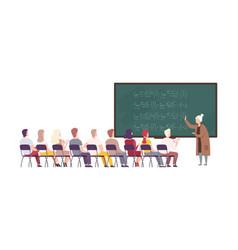 Female teacher professor standing in front of vector