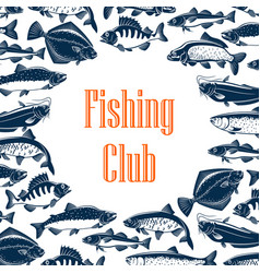 Fishing club poster with fishes in pattern frame vector