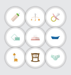 flat icon infant set of nipple infant cot nappy vector image