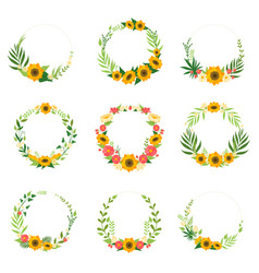 floral wreath with flowers set circle frames with vector image