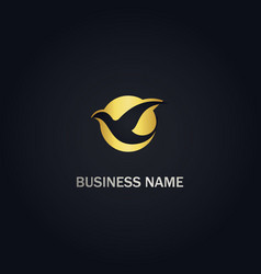 fly dove bird gold logo vector image