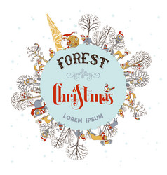 forest christmas background vector image