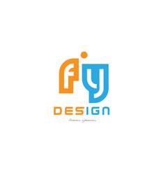 fy f y orange blue alphabet letter logo vector image