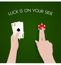 Gabling and luck dealer green cloth fortune vector
