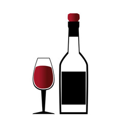 glass cup with wine and empty bottle vector image
