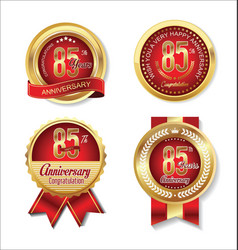 Golden badge anniversary collection 85 years 2 vector