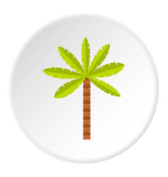 Green palm tree icon circle vector