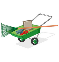 Green wagon with gardening tools and bag soil vector