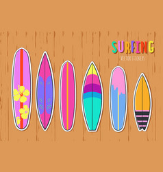 hand drawn set surfboards 3 vector image