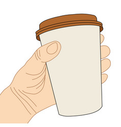 hand with disposable coffee cup vector image