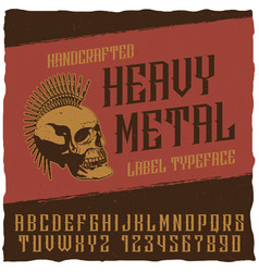 Heavy metal label typeface poster vector