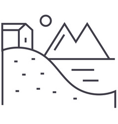 house on hills with lake and mountains line vector image