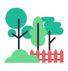 icons of trees bush and wooden fence on white vector image