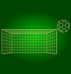 Icons soccer gates and soccer ball thin lines vector