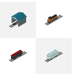 isometric wagon set of subway vehicle train vector image