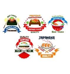 Japanese food restaurant emblems vector image