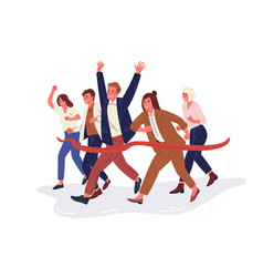 joyful office workers or clerks crossing finish vector image
