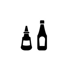 ketchup and mustard sauce bottle flat icon vector image