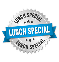 Lunch special round isolated silver badge vector
