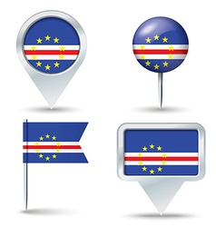 Map pins with flag of Cape Verde vector image
