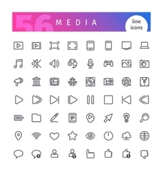Media Line Icons Set vector