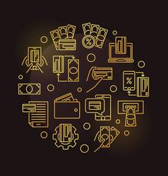 online banking epayments round golden line vector image