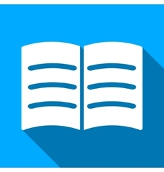 Open Book Flat Long Shadow Square Icon vector