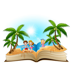 open book with happy children on the beach vector image