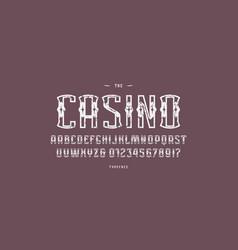 Ornamental sans serif font in gambling style vector