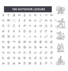 outdoor leisure editable line icons 100 vector image