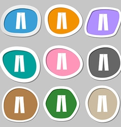 Pants icon symbols Multicolored paper stickers vector