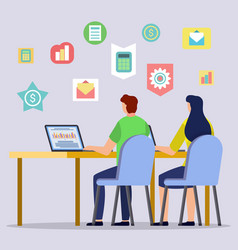 people using laptop for online learning vector image