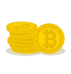 Pile of golden bitcoins cryptocurrency coins in vector