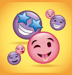 Pink and purple smiles emoji happy smiling love vector
