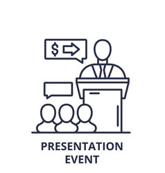 Presentation event line icon concept presentation vector