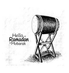 Ramadan mubarak with traditional drum hand drawn vector