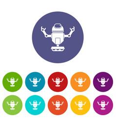 Robot on wheels icons set flat vector