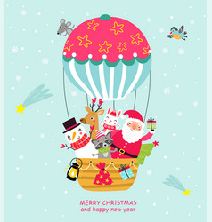 Santa in a balloon christmas card vector