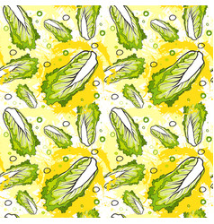 Seamless pattern nappa cabbage vegetables ornament vector