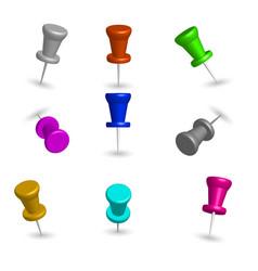 Set 3d pushpins vector