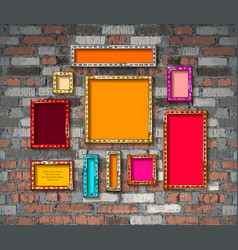 set color gold vintage frames vector image