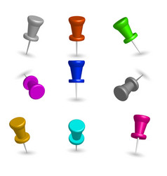 set of 3d pushpins vector image