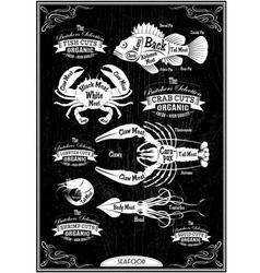 set of diagram cut carcasses seafood vector image